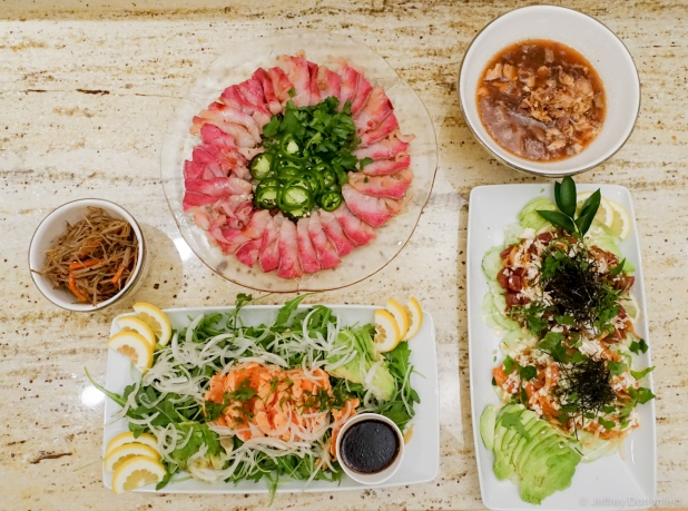 sample items include: Hamachi w/Jalepeno, Tuna Poke, Salmon salad, Kinpira