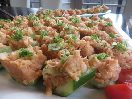 Spicy Tuna Poki on Cucumber boats