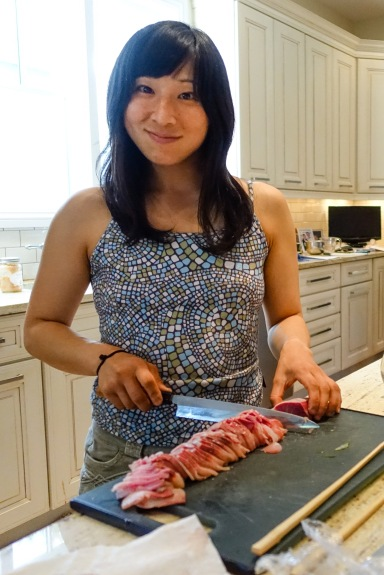 Miho slicing hamachi