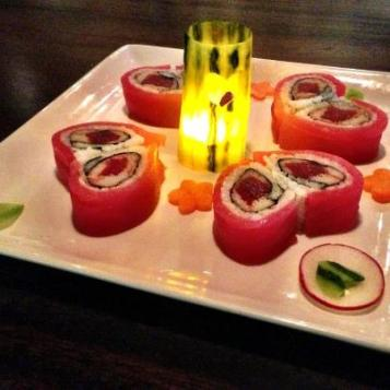 Heart shaped sushi rolls wrapped in Tuna