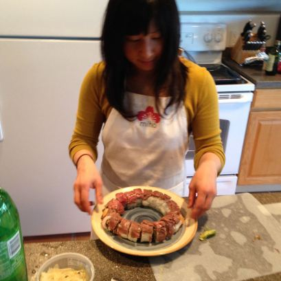 finish touch for a perfect surf and turf roll by miho