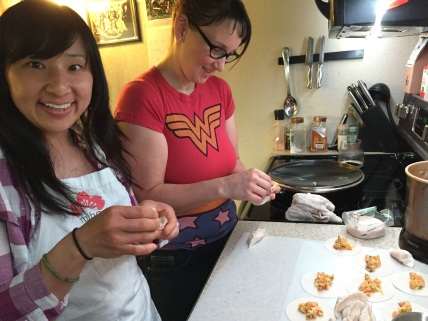 making gyoza together