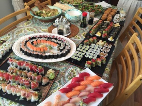 nigiri and rolls on a table
