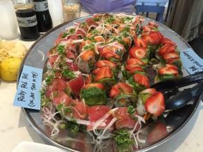 Veggie rolls w/ strawberry slices